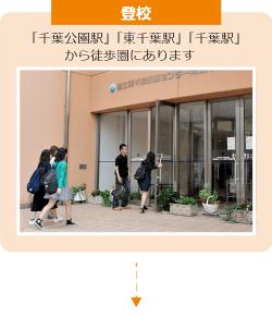 登校 最寄り駅「東千葉」から徒歩で通っている学生がほとんど